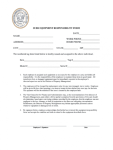 editable employee equipment responsibility form  fill online employee equipment agreement template excel