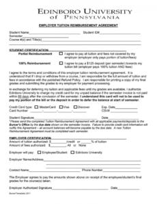 editable employer tuition reimbursement agreement student tuition reimbursement agreement template sample
