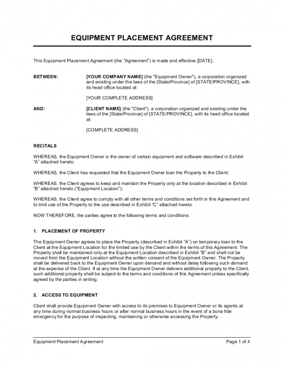 editable equipment placement agreement template businessinabox™ property access agreement template doc