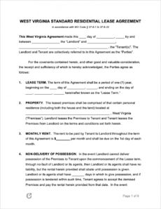 editable free west virginia standard residential lease agreement legal rental agreement template excel
