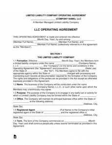 editable multimember llc operating agreement template  eforms owner operator agreement template