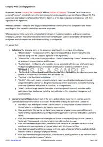 editable nonexclusive licensing contract music license agreement template example