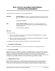 editable real estate salesman independent contractor agreement real estate license agreement template sample