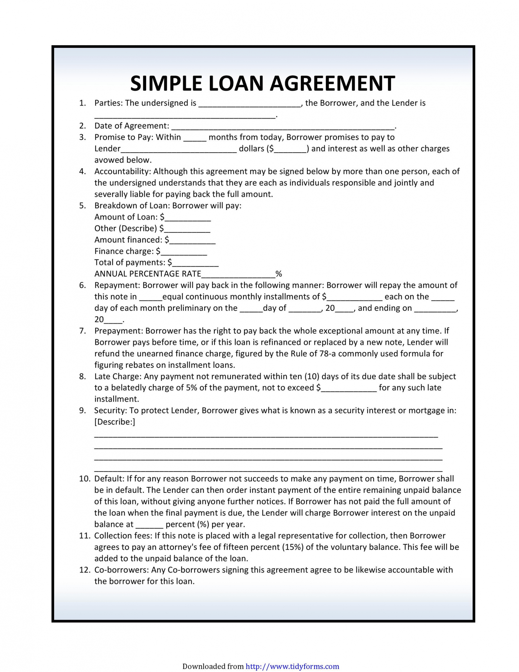 free 40 free loan agreement templates word & pdf ᐅ templatelab art loan agreement template excel
