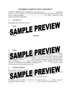 free deferred compensation agreement for film production deferred compensation agreement template pdf