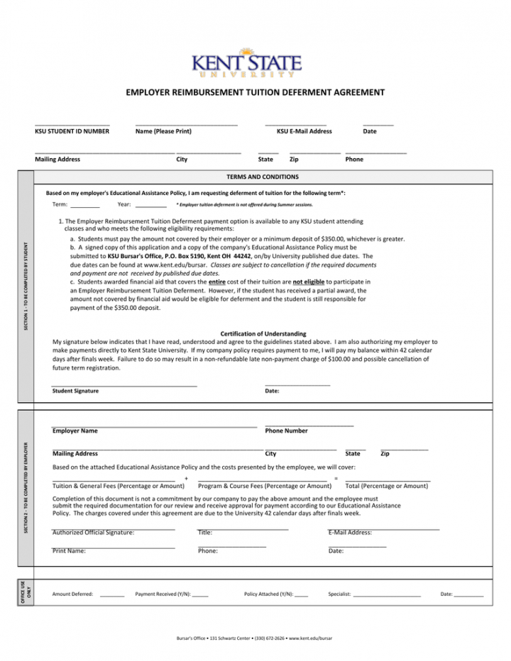 free employer reimbursement tuition deferment agreement tuition reimbursement agreement template word