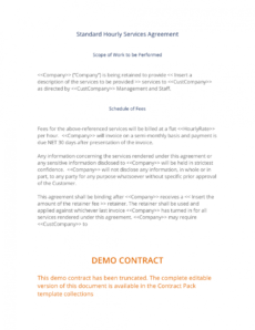 free hourly services agreement  3 easy steps standard services agreement template example