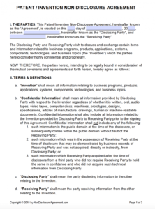 free patent invention nondisclosure agreement nda  pdf one way non disclosure agreement template example