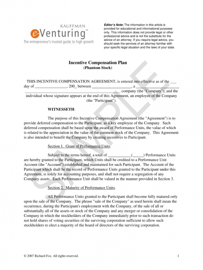free phantom equity agreement llc  fill online printable deferred compensation agreement template word