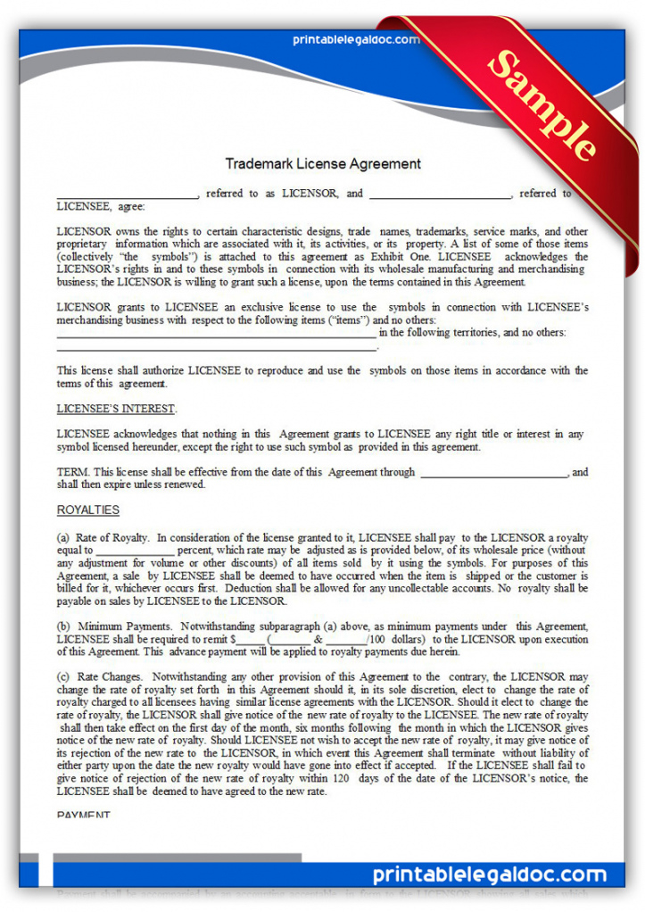 free printable trademark license agreement form generic trademark license agreement template pdf