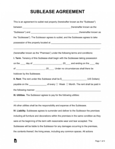 free sublease agreement template  pdf  word  eforms room sublease agreement template pdf