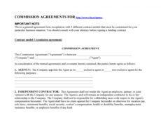 printable 36 free commission agreements sales real estate contractor commission split agreement template sample
