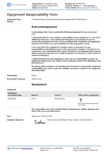 printable employee equipment responsibility form free and editable employee equipment agreement template doc