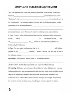 printable free maryland sublease agreement template  pdf  word room sublease agreement template excel