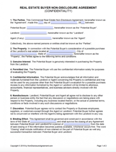 printable free real estate buyer confidentiality nondisclosure property access agreement template excel