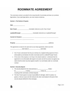 printable free roommate room rental agreement template  pdf  word room sublease agreement template