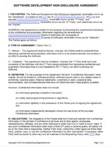 printable free software development nondisclosure agreement nda freelance non disclosure agreement template