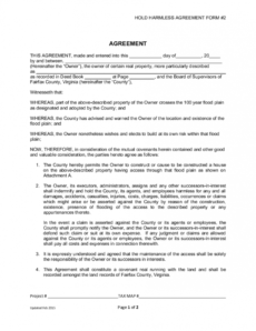 printable hold harmless agreement form  edit fill sign online property access agreement template example