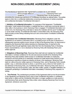 printable nondisclosure agreement nda template  sample one way non disclosure agreement template