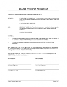 printable shares transfer agreement short template businessinabox™ property transfer agreement template excel