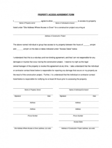 property access agreement  fill online printable fillable property access agreement template example