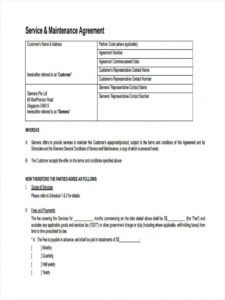 sample free 12 maintenance agreement forms in pdf service maintenance agreement template word