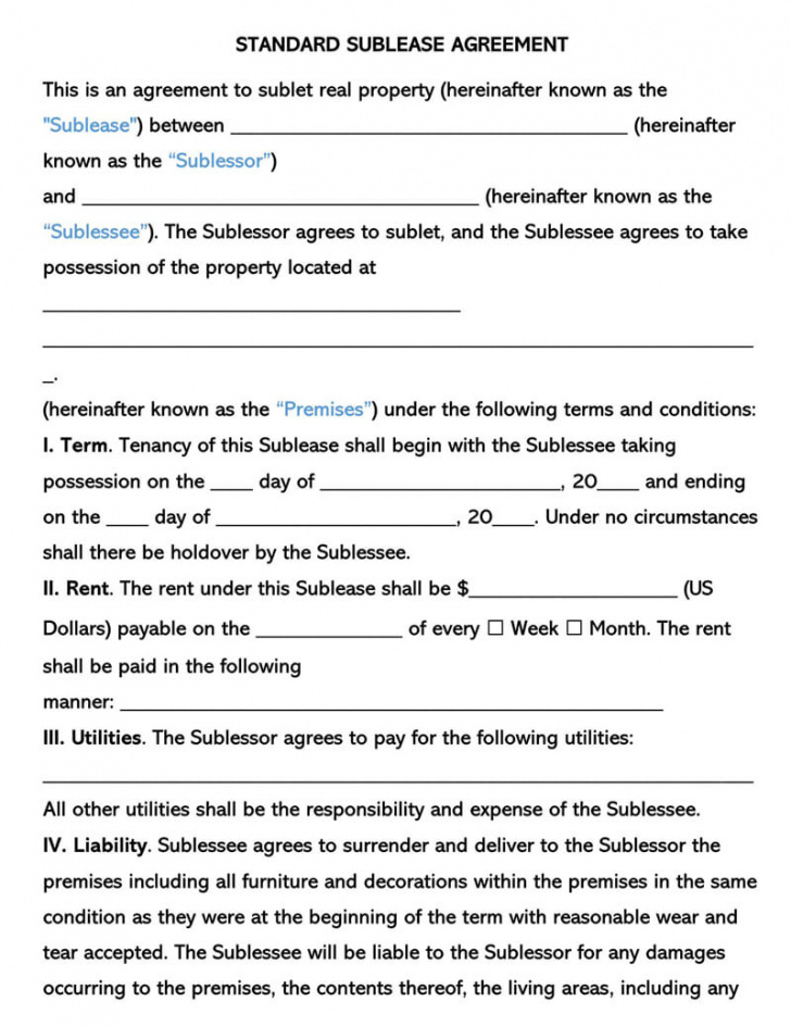 sample free commercial sublease agreement templates by state commercial sublease agreement template