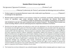 sample standard music license agreement  nimia music license agreement template pdf
