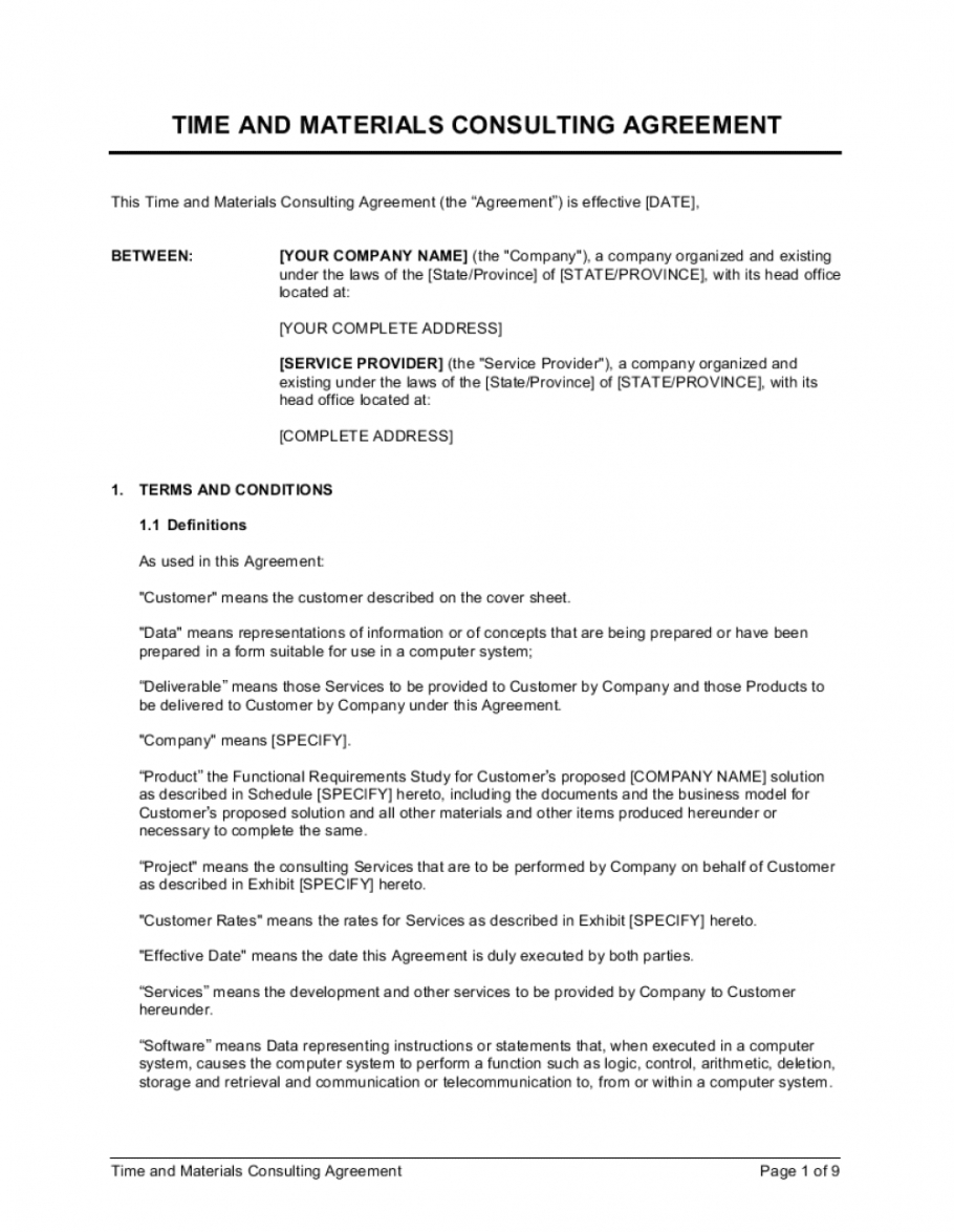 time and materials consulting agreement template marketing consulting agreement template