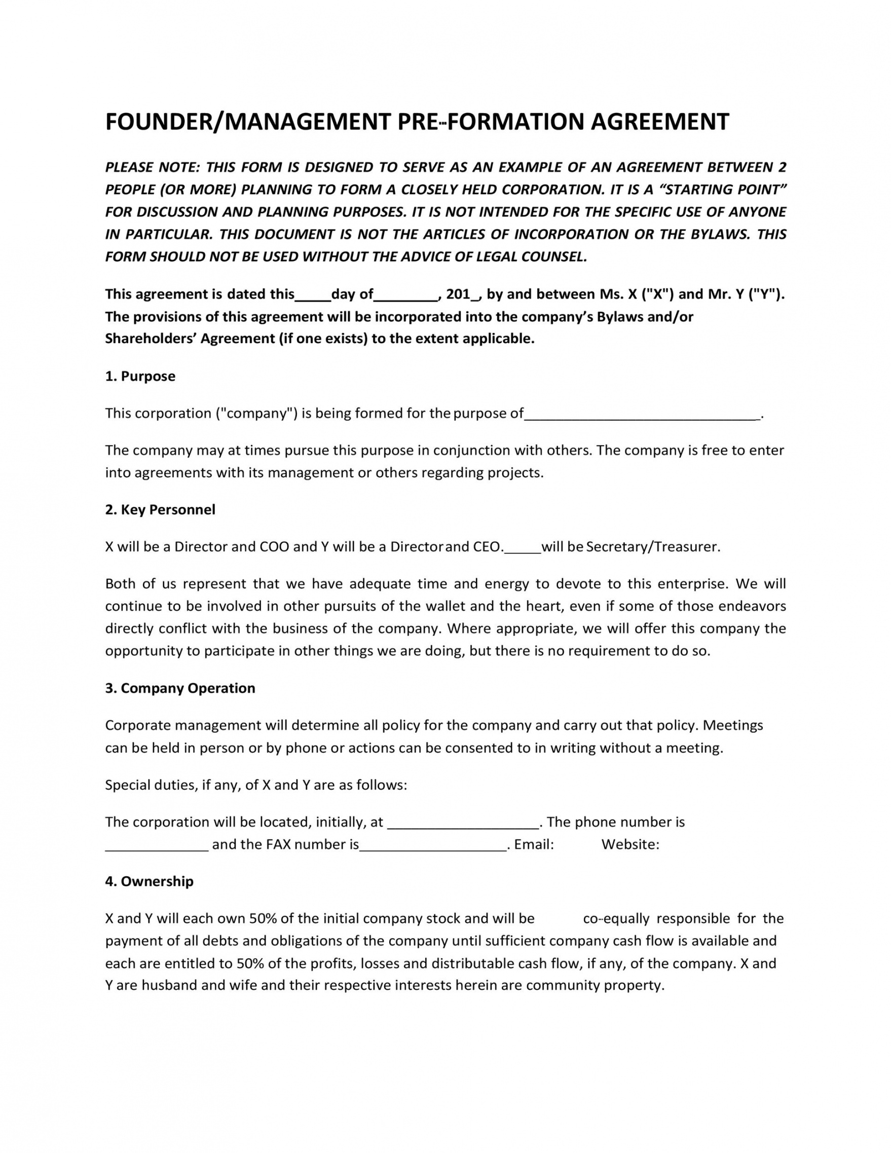 22 great founders agreement tramples for any startup ᐅ founder vesting agreement template word