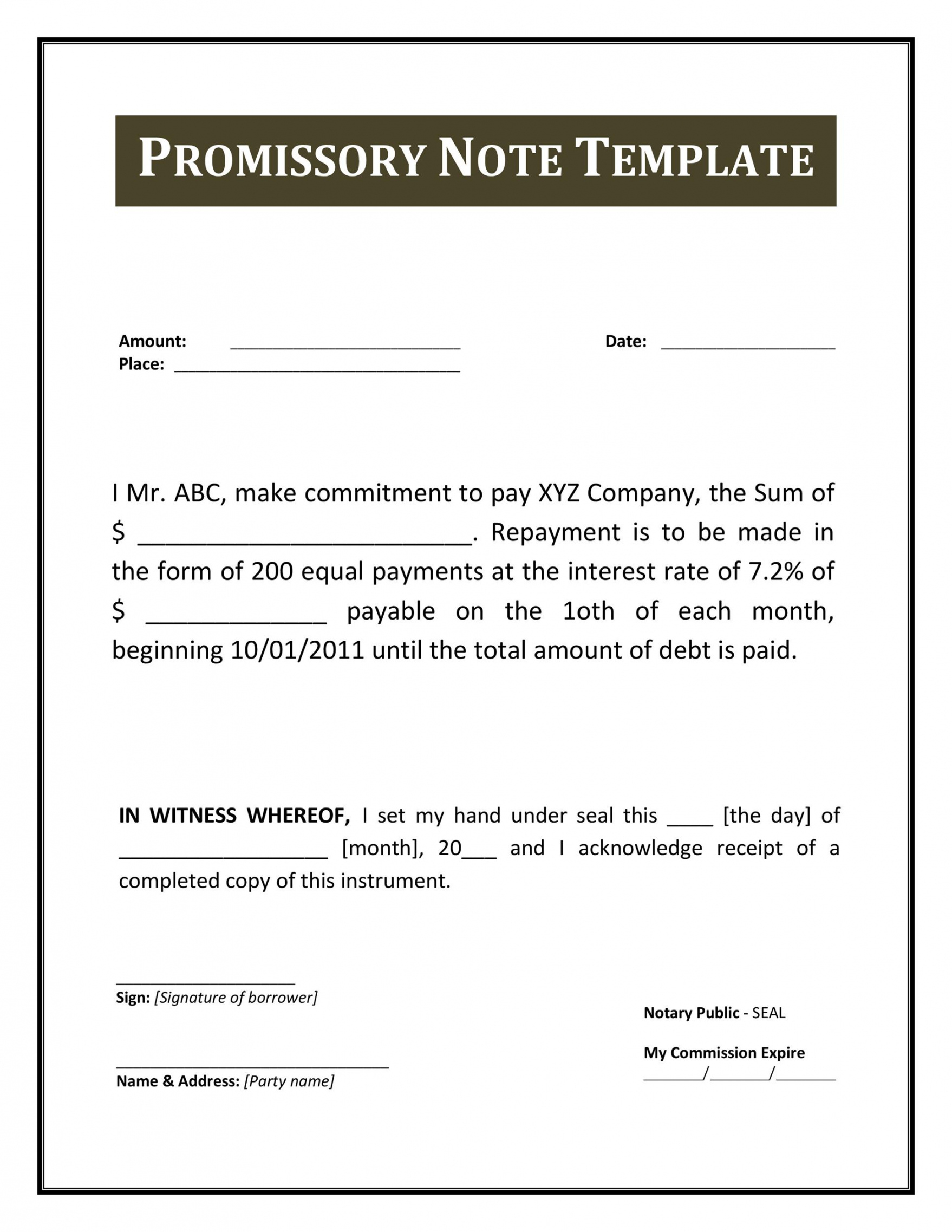 editable 45 free promissory note templates & forms word & pdf ᐅ promise to pay agreement template example