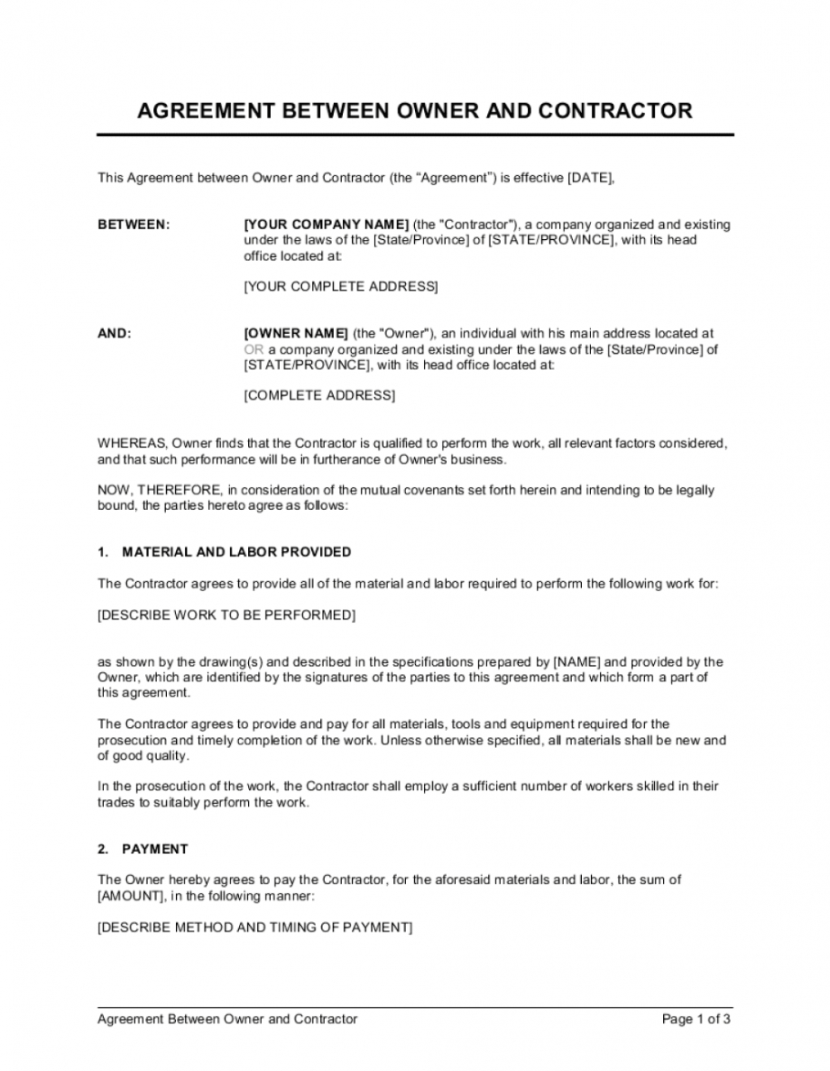 editable agreement between owner and contractor template free trial agreement template excel