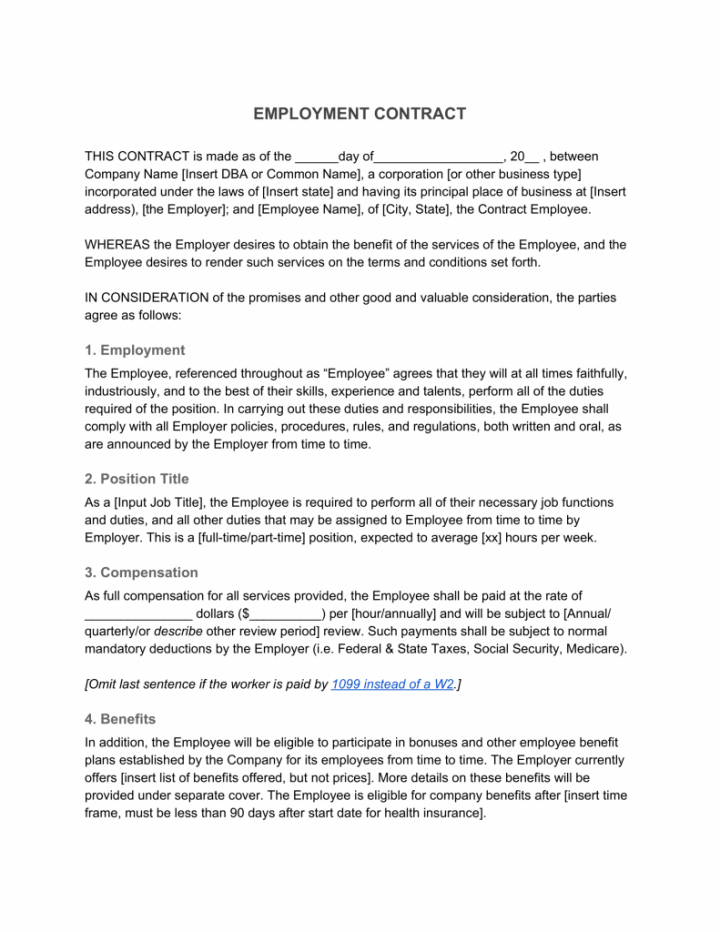 editable employment contract—definition & what to include hiring agreement template sample