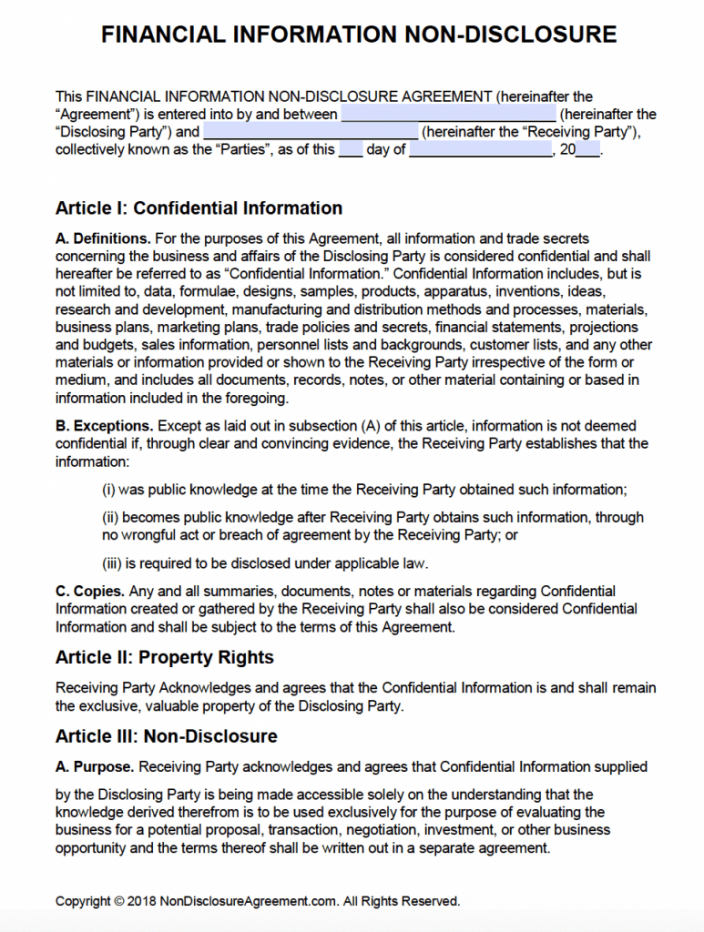 editable free financial information nondisclosure agreement nda investment advisory agreement template doc