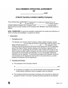 editable free north carolina single member llc operating agreement north carolina llc operating agreement template example