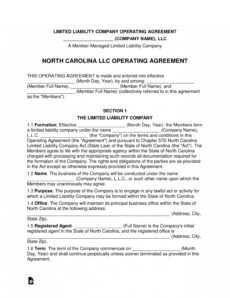 editable north carolina multimember llc operating agreement form north carolina llc operating agreement template word