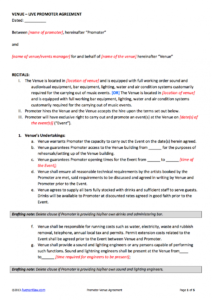 editable promoter  venue contract template venue agreement template doc
