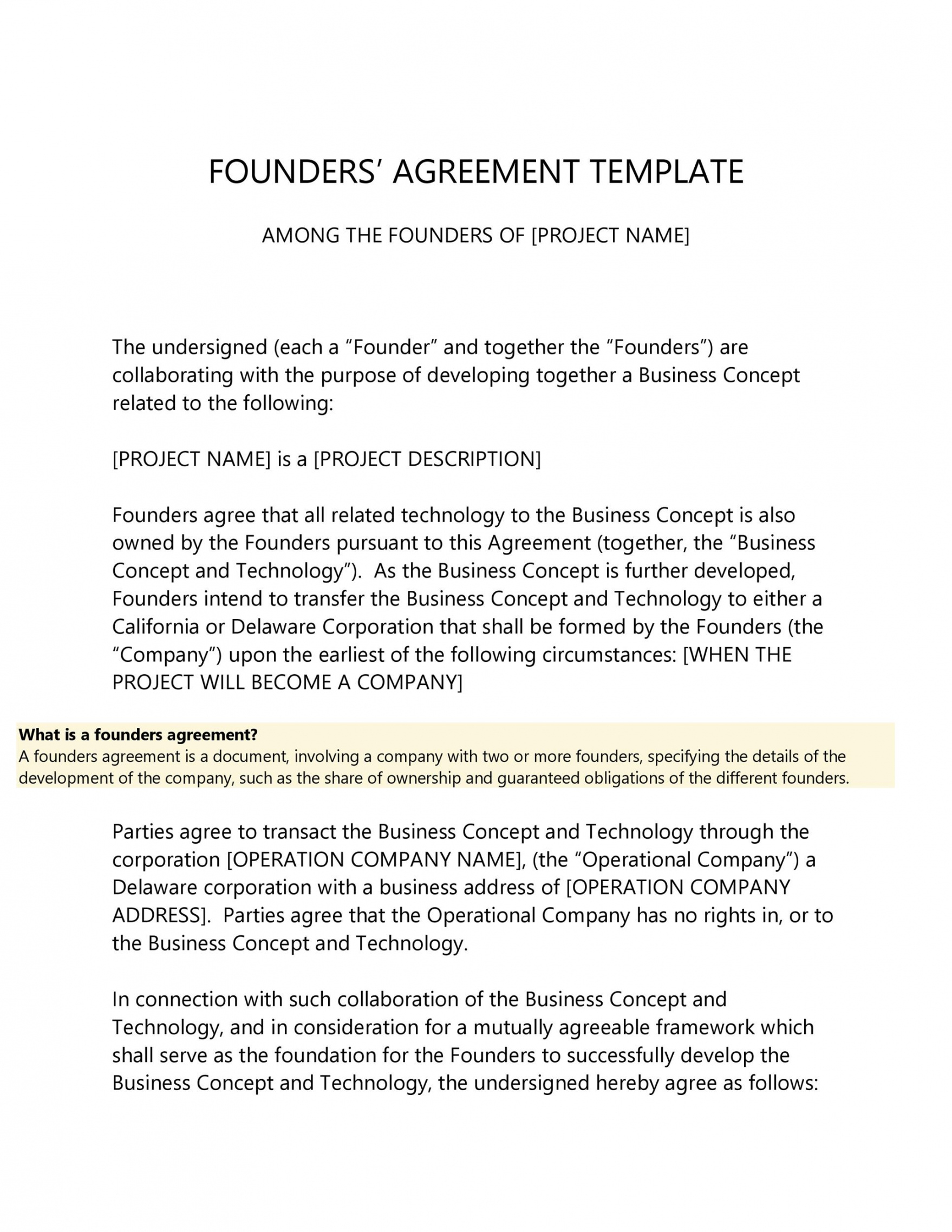 free 22 great founders agreement tramples for any startup ᐅ founder vesting agreement template