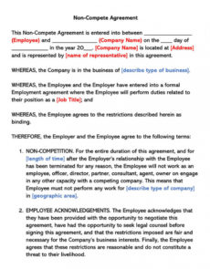 free free employee noncompete agreement templates wordpdf partnership non compete agreement template doc