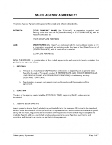 free sales agency agreement template businessinabox™ free trial agreement template doc