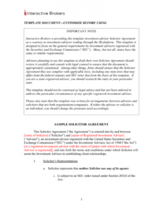 free sample solicitor agreement and solicitor`s disclosure statement investment advisory agreement template doc