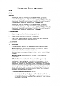 free source code licence agreement  docular ip license agreement template example