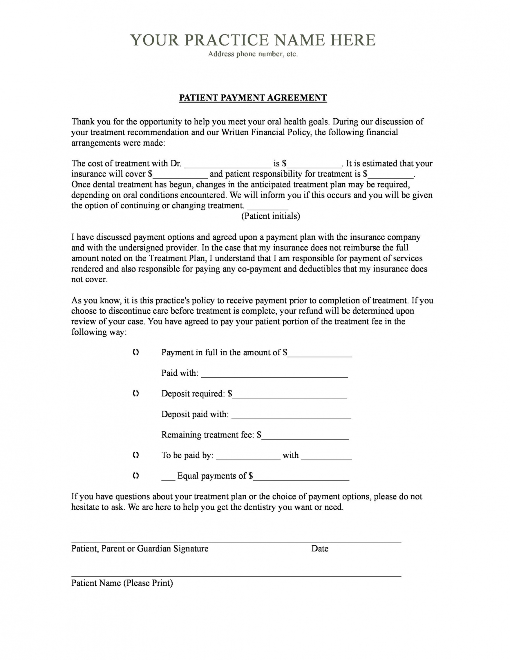 payment agreement  40 templates & contracts ᐅ templatelab financial agreement template for medical office pdf