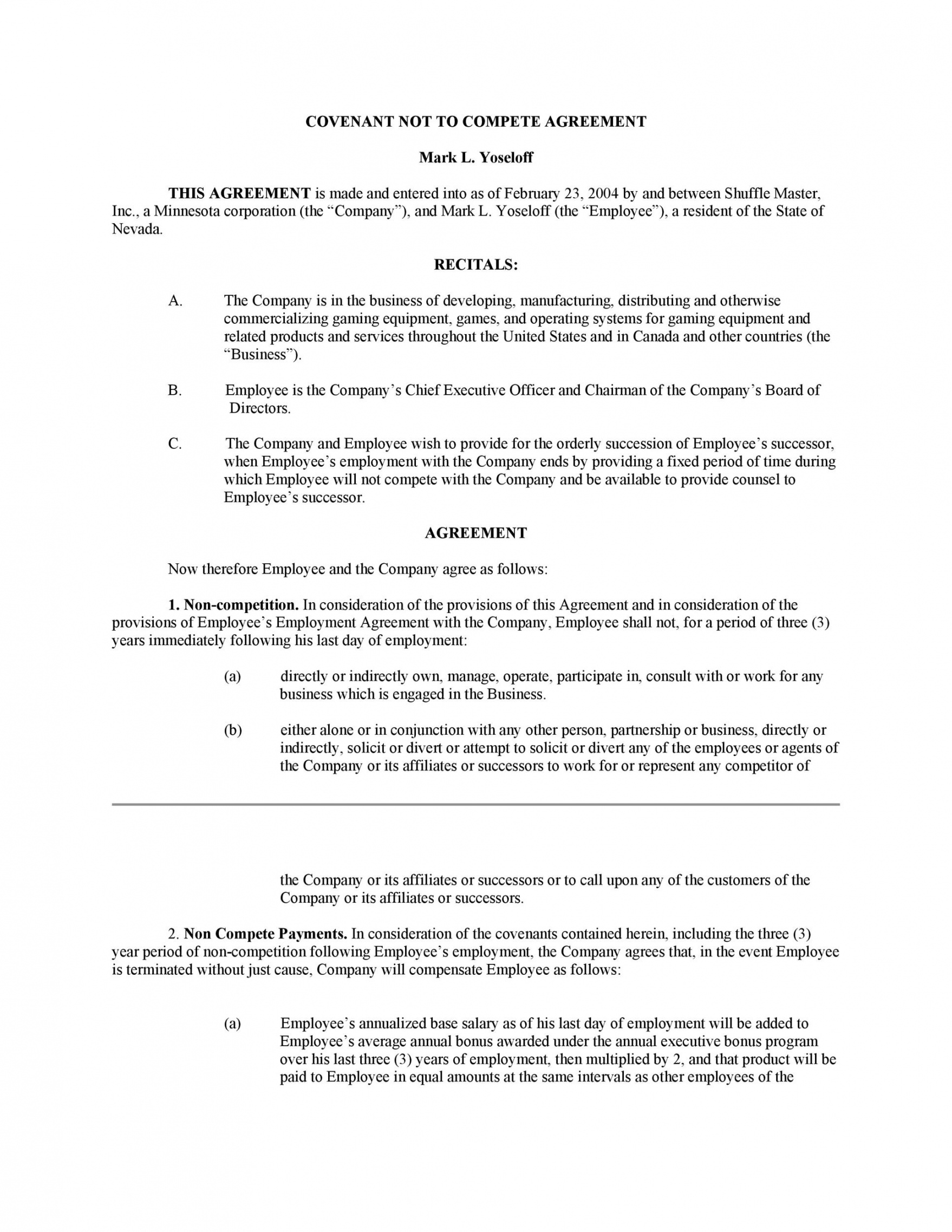printable 39 readytouse noncompete agreement templates ᐅ templatelab partnership non compete agreement template excel