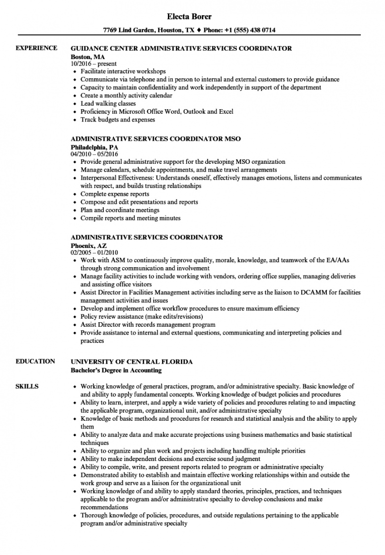 printable administrative services coordinator resume samples  velvet jobs mso agreement template sample