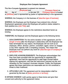 printable free noncompete agreement templates employee contractor partnership non compete agreement template example