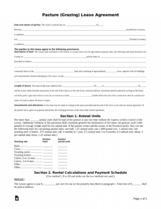 printable free pasture grazing rental lease agreement template  pdf hay lease agreement template sample