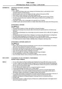 printable investment advisor resume samples  velvet jobs investment advisory agreement template sample