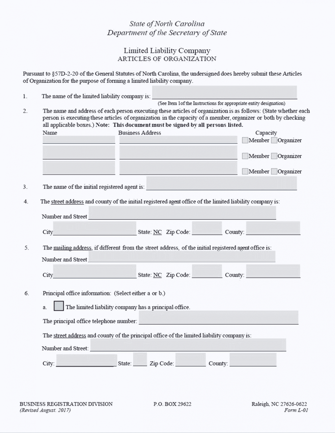 printable llc in nc  how to form an llc in north carolina north carolina llc operating agreement template example