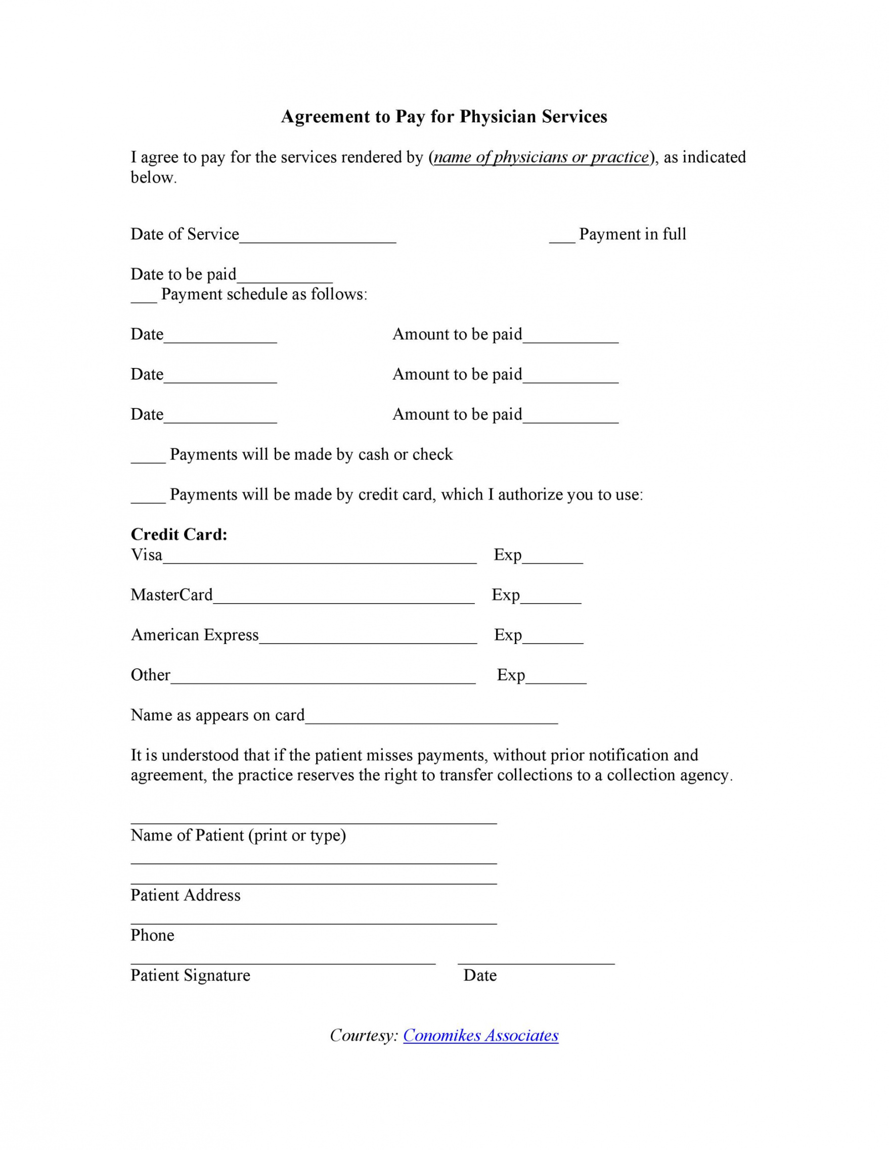 printable payment agreement  40 templates & contracts ᐅ templatelab financial agreement template for medical office word